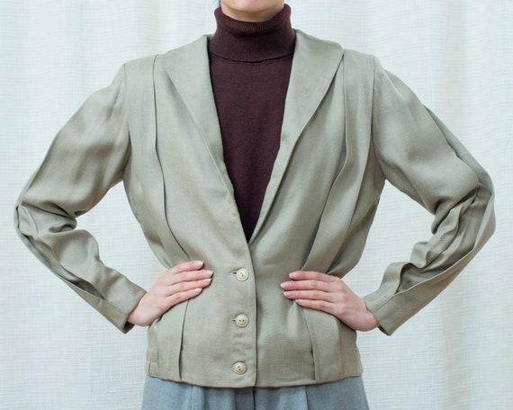 70s flax linen blazer medium | minimalist beige li