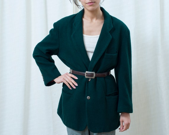 80s green wool power suit blazer large | minimalis