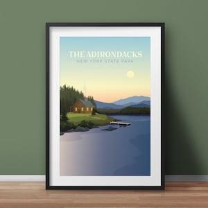Adirondack Lake House at Sunset Adirondacks Poster Adirondack Mountains The Adirondacks Adirondack Cottage Adirondack Gift