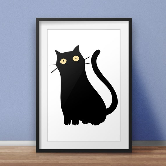Minimalist Black Cat Art Cat Home Decor Cat Art Painting Of Cat Cat Lover Gift Black Kitty Painting Funny Cat Wall Art