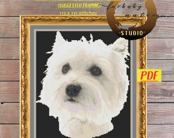 West Highland White Terrier Cross Stitch Embroidery Pattern, XStitch PDF Pattern Download,  How To Cross-Stitch Instructions Incl w/ Chart