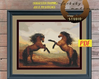 Rearing Horses Cross Stitch Embroidery Pattern, XStitch PDF Pattern Download,  How To Cross-Stitch Instructions Included with Chart