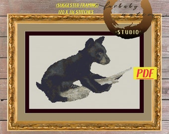 Baby Black Bear Cross Stitch Embroidery Pattern, XStitch PDF Pattern Download,  How To Cross-Stitch Instructions Included with Chart