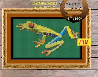 Tree Frog Counted Cross Stitch Pattern, XStitch PDF Pattern Download,  How To Cross-Stitch Instructions Included with Chart