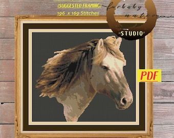 White Horse Cross Stitch Embroidery Pattern, XStitch PDF Pattern Download,  How To Cross-Stitch Instructions Included with Chart