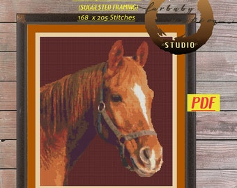 Brown Horse Cross Stitch Embroidery Pattern, XStitch PDF Pattern Download,  How To Cross-Stitch Instructions Included with Chart