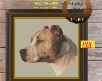 Brown & White Pitbull Cross Stitch Pattern, XStitch PDF Pattern Download,  How To Cross-Stitch Instructions Included with Chart