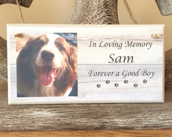 Personalised memorial plaque. Can be personalised with any photo and any text. A lovely gift to remember a beloved dog, cat, horse, pet