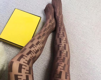 35c59be6e FF Monogram Style Brown Designer Lace High-WAIST Tights Pantyhose Stockings