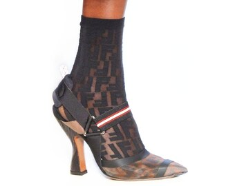 1d976ad5da0c FF Monogram Style Designer Sheer Socks