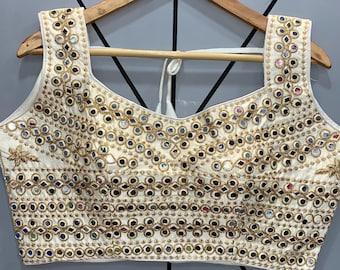New Design Ready-made Beautiful TopFency BlouseCrop topCholi For Skirtdulha-dulhan Embroidery Jari work BlouseB0116