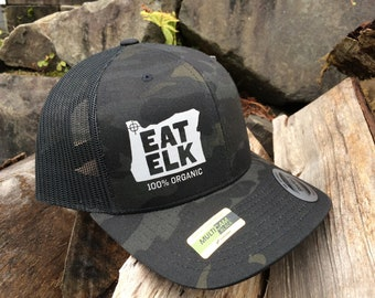 Elk Hunting Hat-Camo SnapBack hat with shape of Oregon ec7c79c496a7