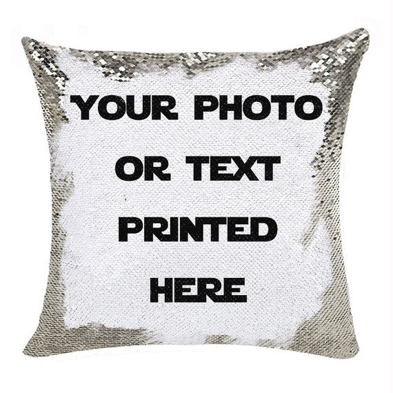 Customize Sequin Pillow In Bulk Personalized Photo Text Name Etsy