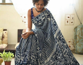 c15ac1e8a4 Hand block Dabu Indigo printed Chanderi silk soft saree with blouse  Bagru  printed saree  Saree with blouse  Block Printed Saree