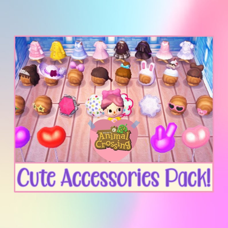 Animal Crossing New Leaf Nintendo Cute Accessory Pack Hats Clothing Accessories Balloons Golden Tools Millions Of Bells