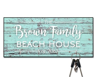 Personalized Mint Rustic Wood Plank Look Beach House Key Hanger - Wall  mount key holder - Personalized Key holder - Key holder wall 9ea3bf5bc3