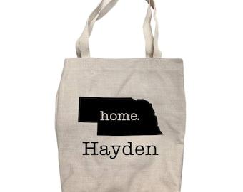 Canvas Tote Bag Tote Bag Custom Tote Bag Personalized Nebraska Home State Tote Bag Personalized Bag Shopping Bag 14 x 15 14