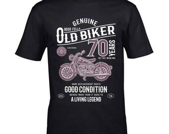0db8b909 Premium Funny 70 Year Old Biker Retro Style Classic motorbike Motif For  70th Birthday Anniversary gift Men's Black t-shirt top