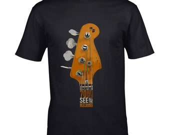 630b88d131 Premium Bass Guitar Headstock I may be 70 Years Old But I Got to see all  the best bands Motif 70th Birthday Anniversary gift Men's t-shirt