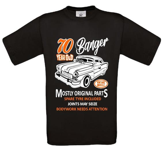 Funny 65 Year Old Banger Classic Car Motif for 65th Birthday mens t-shirt tshirt
