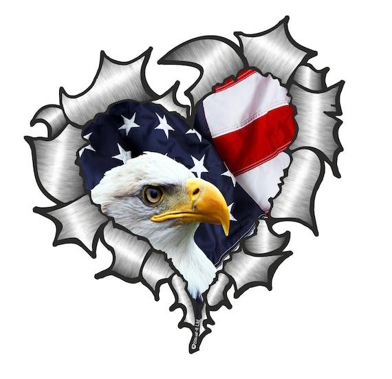 LARGE CLASSIC Ripped Torn Metal Rip American Stars /& Stripes US Flag car sticker