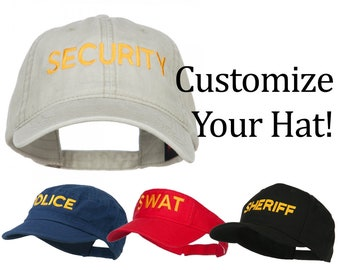 Customize Law Enforcement Embroidery Design on Your Washed Cap   Hat   Mesh  Cap   Visor   Cadet Hat 2bcf8f73f86e