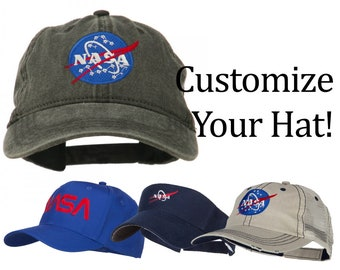 429fb38b13911 Customize NASA Embroidery Design on Your Washed Cap   Hat   Mesh Cap    Visor   Cadet Hat