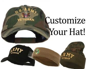 Customize US Army Veteran Military Embroidery Design on Your Camo Cap    Mesh Cap   Head Band   Camo Beanie 62a1354e9746