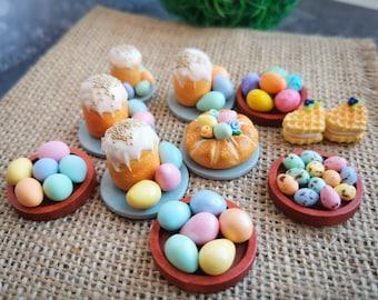 Dollhouse Barbie food - Easter cake, colour eggs, sweets - 1/6 - 1/12, dollhouse food - ag doll food - monster high