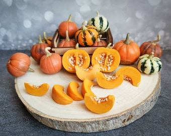 Barbie food - Fairy garden pumpkin: striped, spotted, pear gourds, large & small, half and slice - Dollhouse food