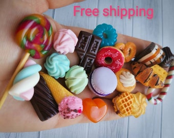 18 inch doll food sweets 22 pcs, scale 1/4, miniature tea set, barbie food, monster high, play food, fake food props