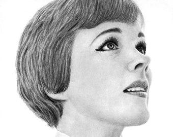 Julie Andrews Portrait - Graphite Pencil Drawing (PRINT)