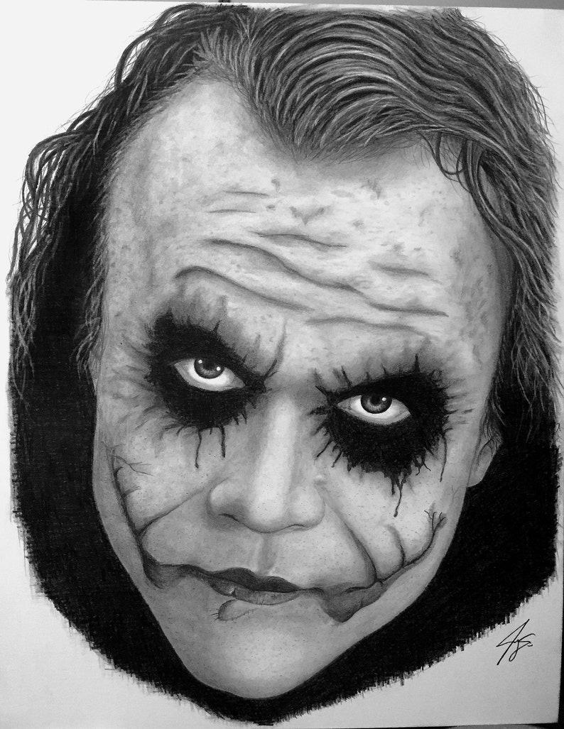 Joker Portrait Graphite Pencil Drawing Print