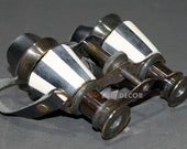 Binoculars. Solid Brass Opera Glasses with Leather Belt Mother of Peral Vintage Look