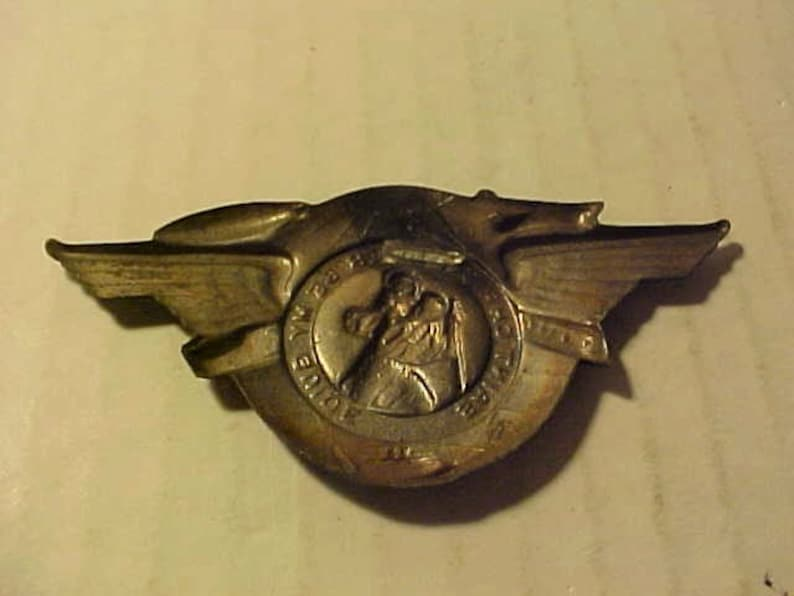 194050s Pinback Saint Christopher Be My Guide All Metal Tin Pin is Missing but in Very Good Condition