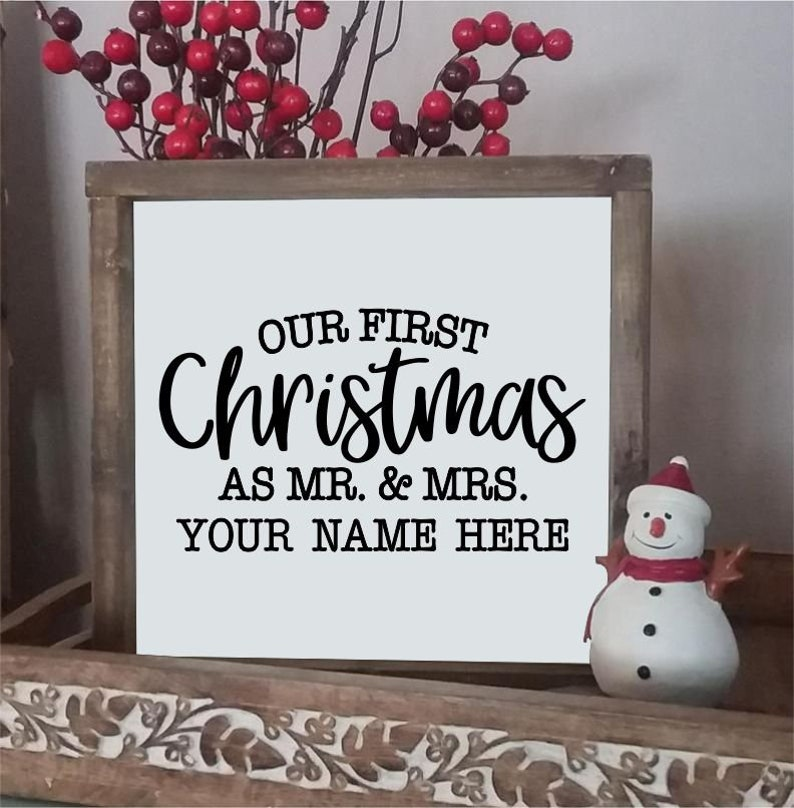 and Mrs Personalized Mr Custom Sign Holiday Gift Framed Farmhouse Sign Our First Christmas Wood Sign Christmas Decor