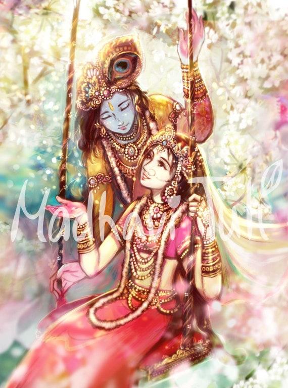 Hd File Shri Krishna With Shri Radha Radha Krishna In Etsy