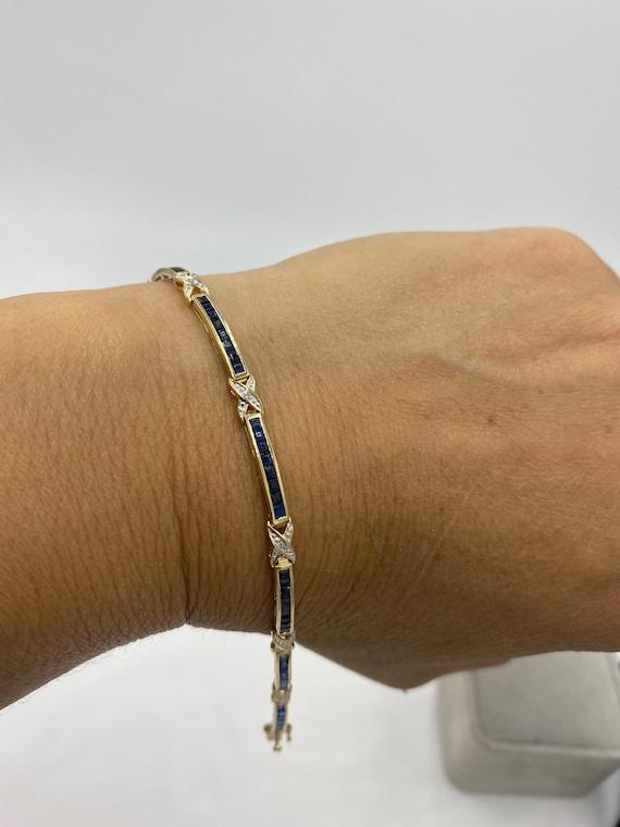 10k gold Sapphire bracelet , the birthstone of Sep