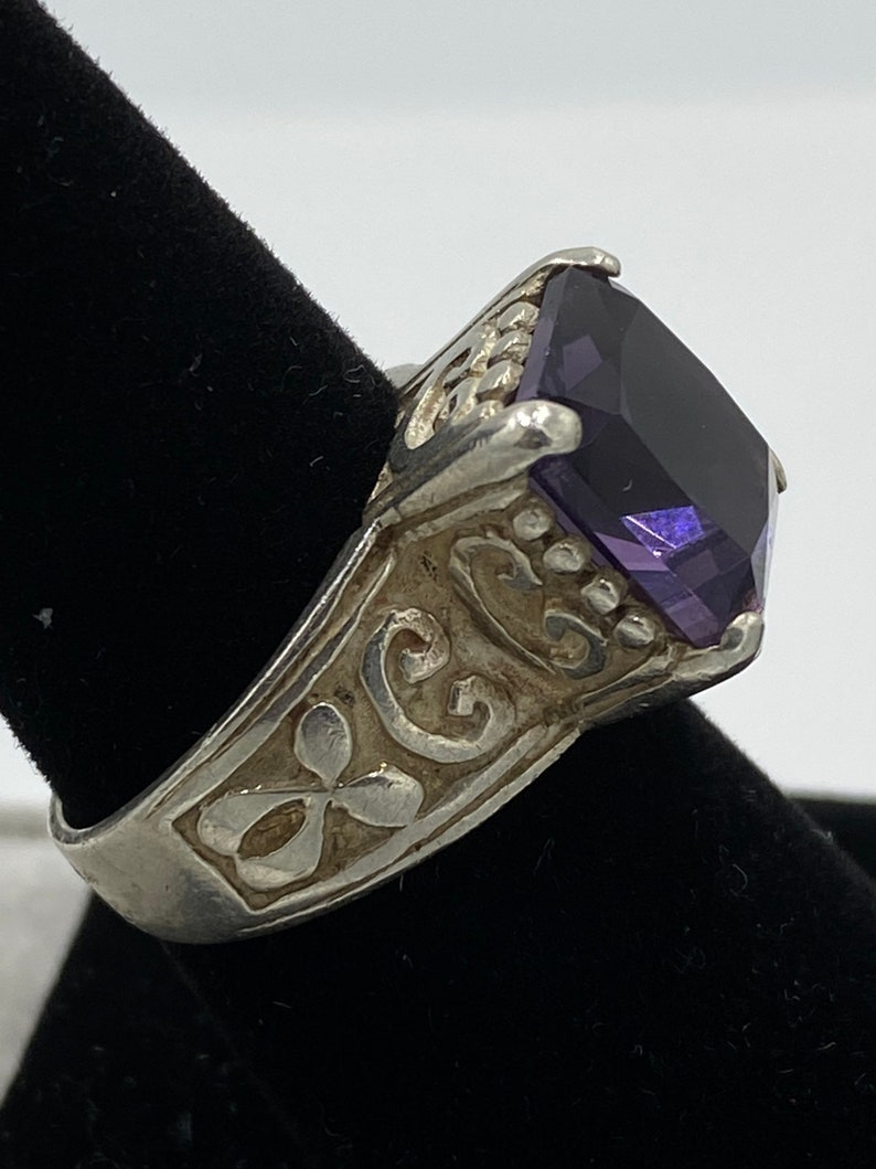 Sterling Silver Large Purple Rectangle amethyst Thick Band 925