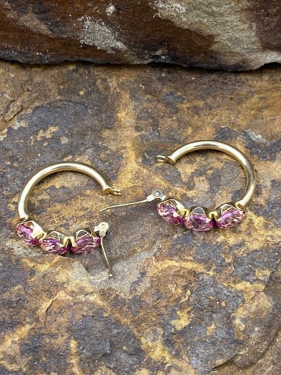 14k yellow gold pink ice earrings