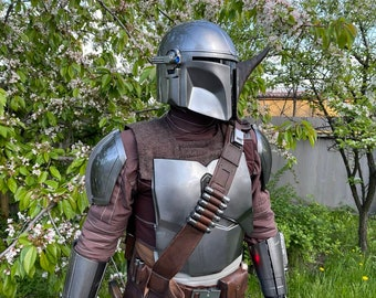 Full beskar armor, jetpack, rifle, cosplay, flight costume, blaster,  leather, helmet