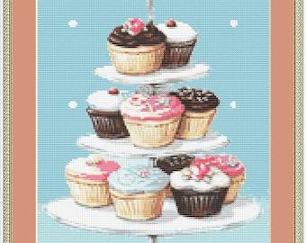 Vanilla Cupcake Altered Art DIGITAL Counted Cross-Stitch Pattern Needlepoint