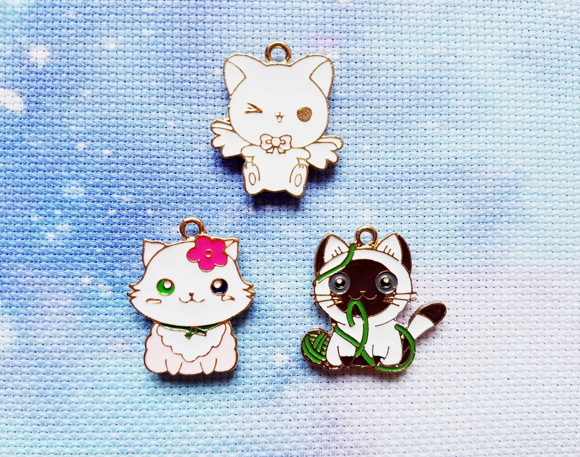 Anime Cat With Wings 3 cat needle minders, anime needle minder, cat magnet, anime magnet, cute  needle minder, kawaii needle minder, cross stitch, enamel, funny