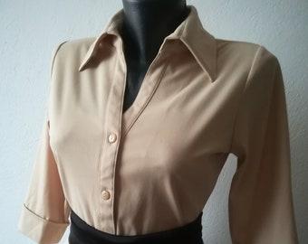 01ffc6eb Vintage Beige Stretch Blouse, Classic Model Women's Blouse, Elastic Knitted  Blouse, Damen 70s Blouse, Stylish Ladies Blouse