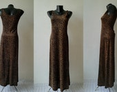 RAGAZZA Sexy Dress with Animal Print, Knitted Leopard Maxi Dress, Vintage Elegant Black and Gold Party Dress, Retro Dresses from the 39 90s
