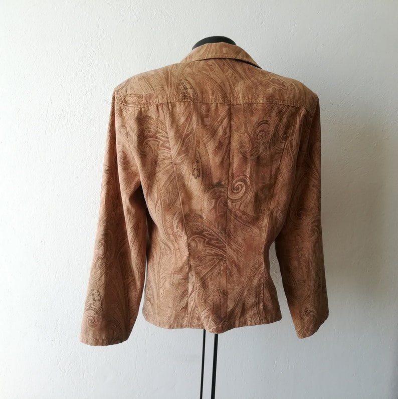 Autumn Vintage 1970s Beige and Colored Womans Jacket Boho Jacket for Woman
