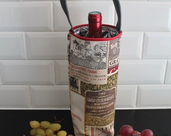 Insulated carrying bag for bottle of wine champagne beer - wine pouch, oenology gift bag - shockproof pouch Christmas gift