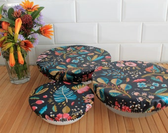 Set of 3 bowl charlottes, rounds, bowl, pie, cake ecological lid cotton coated soft zero waste ZD