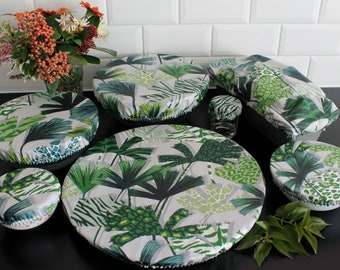 Set of 7 charlottes with salad bowl palm round leaf pie cake ecological lid cotton coated soft zero waste ZD covers flat