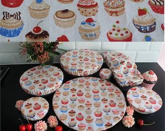 Set of 7 salad bowl charlottes Round cupcake pie cake ecological lid cotton coated soft zero waste ZD covers flat